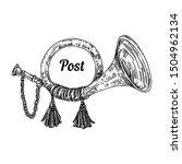 vintage post horn. sketch.... | Shutterstock .eps vector #1504962134