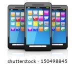 three smartphones in a line. 3d ... | Shutterstock . vector #150498845