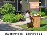 little girl with lemonade stand | Shutterstock . vector #150499511