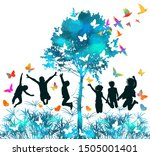 joyful jumping children in... | Shutterstock .eps vector #1505001401