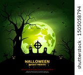 halloween scary night vector... | Shutterstock .eps vector #1505058794