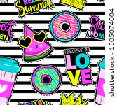 fashion patch badges in sketch... | Shutterstock .eps vector #1505074004