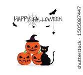 black cat pumpkin abd bat... | Shutterstock .eps vector #1505087447