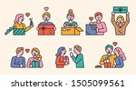 cute characters opening the... | Shutterstock .eps vector #1505099561
