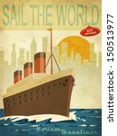 sail the world   vintage poster ... | Shutterstock .eps vector #150513977