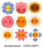 collection of cute flowers  ... | Shutterstock .eps vector #150514097