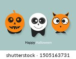 set of halloween pumpkins ... | Shutterstock .eps vector #1505163731