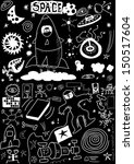 space doodle isolated on black ... | Shutterstock . vector #150517604