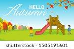 Children Playing In Autumn Par...