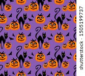 seamless pattern with pumpkin... | Shutterstock .eps vector #1505199737