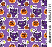 seamless pattern with pumpkins... | Shutterstock .eps vector #1505199764