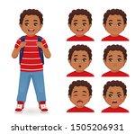 school boy with backpack... | Shutterstock .eps vector #1505206931