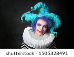 Girl In Makeup And Costume...