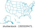 usa blue line map vector | Shutterstock .eps vector #1505339471