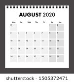august 2020 calendar with wire... | Shutterstock .eps vector #1505372471