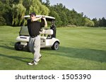 man in front of golf cart on...   Shutterstock . vector #1505390