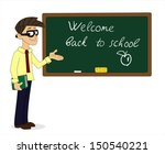 teacher with book shows ... | Shutterstock .eps vector #150540221