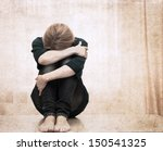 artwork  in grunge style   girl ... | Shutterstock . vector #150541325