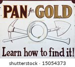Pan for gold vintage sign - stock photo