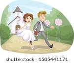 just married couple happy... | Shutterstock .eps vector #1505441171