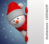 cute funny snowman holding...   Shutterstock . vector #150546239