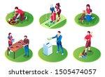 set of isolated volunteer... | Shutterstock .eps vector #1505474057