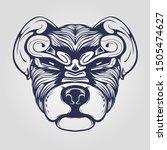 dog head line art with... | Shutterstock .eps vector #1505474627