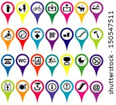 Map markers with international service signs, colorful set