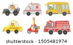 cartoon animal driver. animals... | Shutterstock .eps vector #1505481974