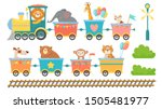 cute animals on train. happy... | Shutterstock .eps vector #1505481977