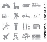 military base icons. gray flat... | Shutterstock .eps vector #1505488514