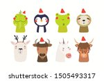 christmas set with cute animals ... | Shutterstock .eps vector #1505493317