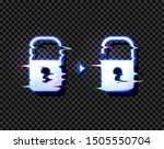 lock and unlock glowing icons...
