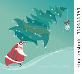 cute little santa claus carries ... | Shutterstock .eps vector #150555191