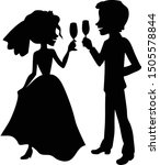 wedding couple with champagne... | Shutterstock .eps vector #1505578844