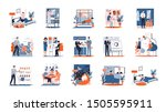 daily routine of a man set. guy ... | Shutterstock .eps vector #1505595911