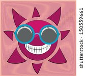 a happy round purple sun in a... | Shutterstock .eps vector #150559661