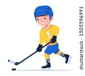 boy hockey player in a sports... | Shutterstock .eps vector #1505596991