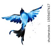 Stock photo blue watercolor hand drawn flying bird 1505607617