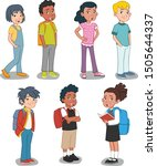 group of cartoon young kids.... | Shutterstock .eps vector #1505644337