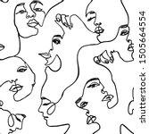 continuous line face women... | Shutterstock .eps vector #1505664554