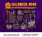 halloween menu with holiday... | Shutterstock .eps vector #1505673497