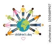 children's day children aroud... | Shutterstock . vector #1505689907
