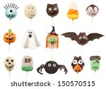 halloween cake pops isolated on ... | Shutterstock . vector #150570515