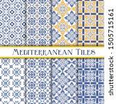 mediterranean tiles blue and...   Shutterstock .eps vector #1505715161