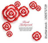 Romantic floral background with 3d red paper flowers and place for text. This vector illustration can be used as greeting card or wedding invitation. Modern photorealistic design.