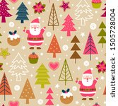 cute santa claus  pine tree and ... | Shutterstock .eps vector #1505728004