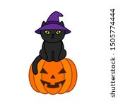 black cat in a witch hat sits... | Shutterstock .eps vector #1505774444