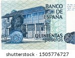 House-Museum of Rosalía de Castro in Padron.  Portrait on Spain 500 Pesetas 1979 Banknotes. Spain money. Closeup UNC Uncirculated - Collection.