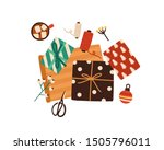 christmas presents wrapping... | Shutterstock .eps vector #1505796011